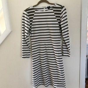 J Crew 365 Knit Fit & Flare Striped LS Dress